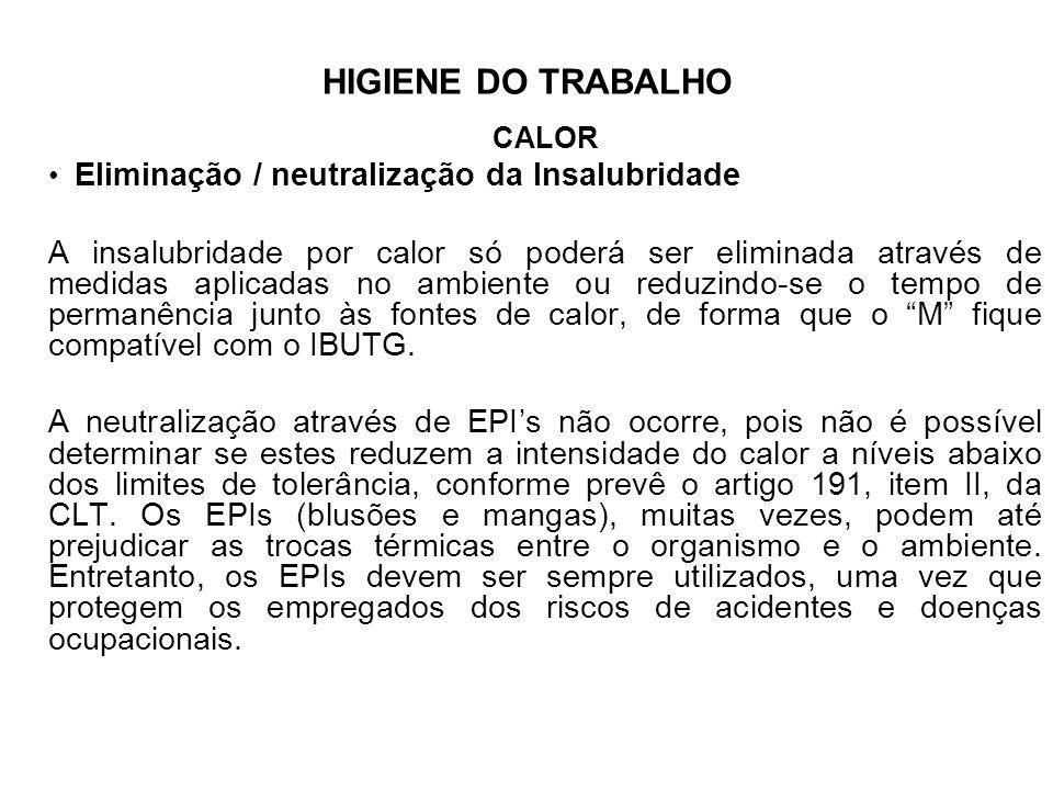 HIGIENE DO TRABALHO CALOR. Eliminação / neutralização da Insalubridade.