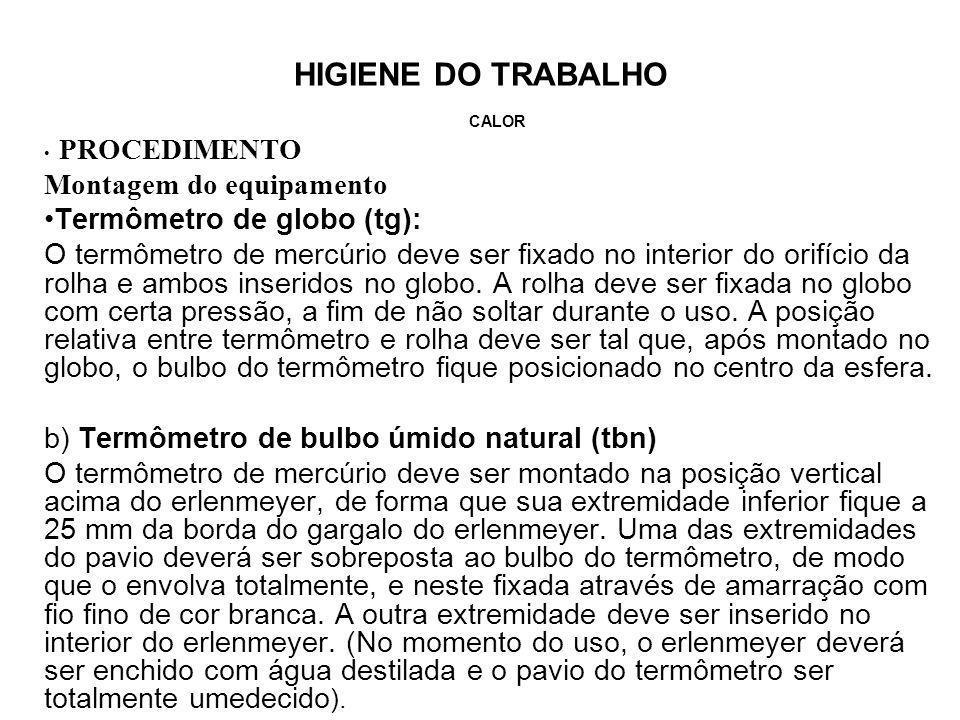 Montagem do equipamento Termômetro de globo (tg):