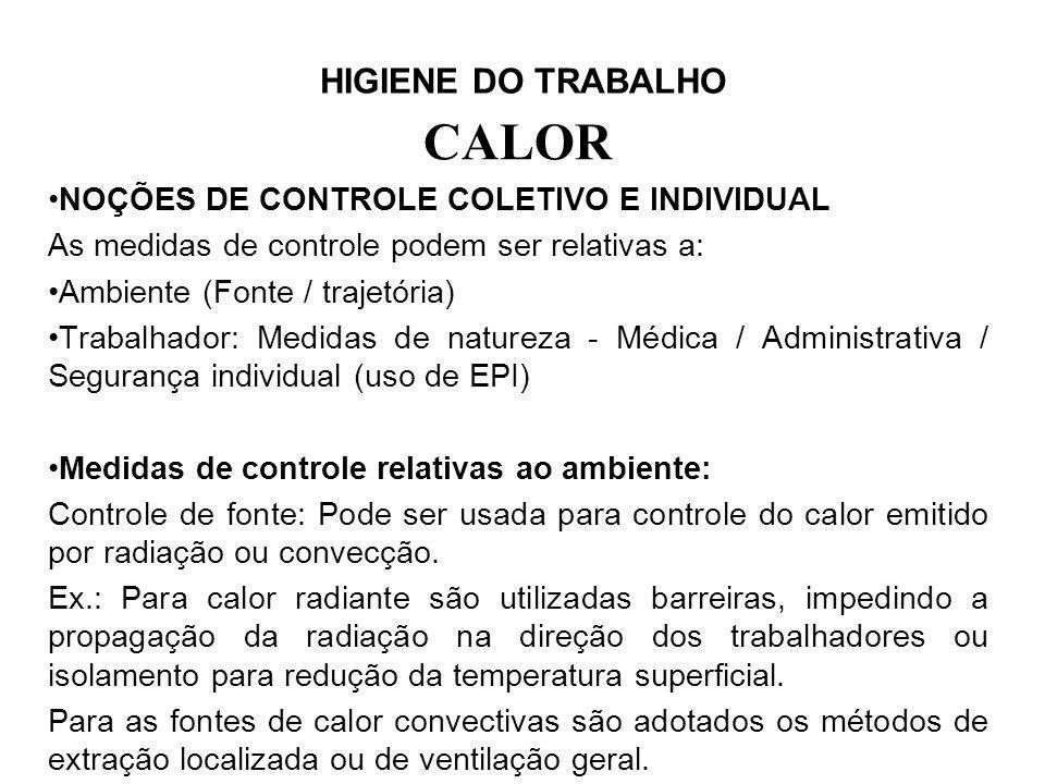 CALOR NOÇÕES DE CONTROLE COLETIVO E INDIVIDUAL