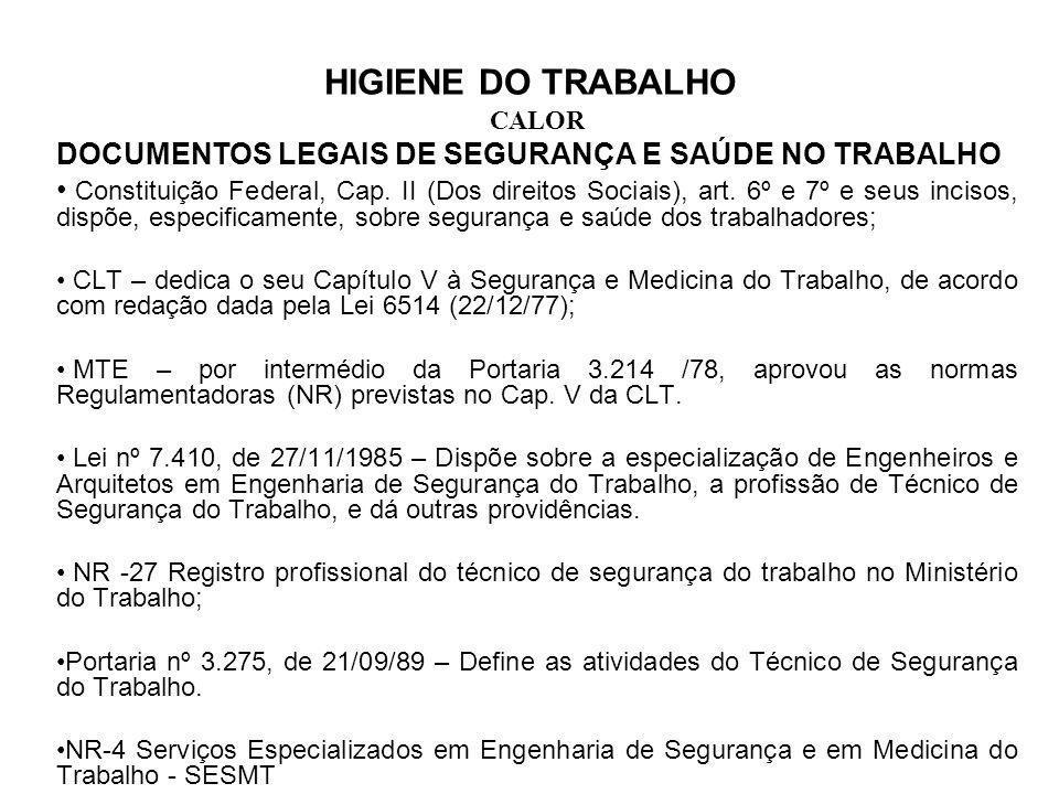 DOCUMENTOS LEGAIS DE SEGURANÇA E SAÚDE NO TRABALHO