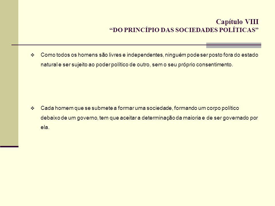 Capítulo VIII DO PRINCÍPIO DAS SOCIEDADES POLÍTICAS