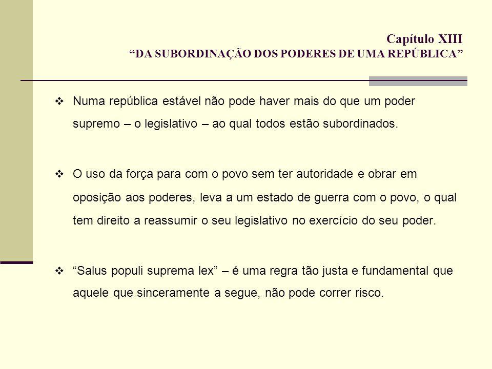Capítulo XIII DA SUBORDINAÇÃO DOS PODERES DE UMA REPÚBLICA