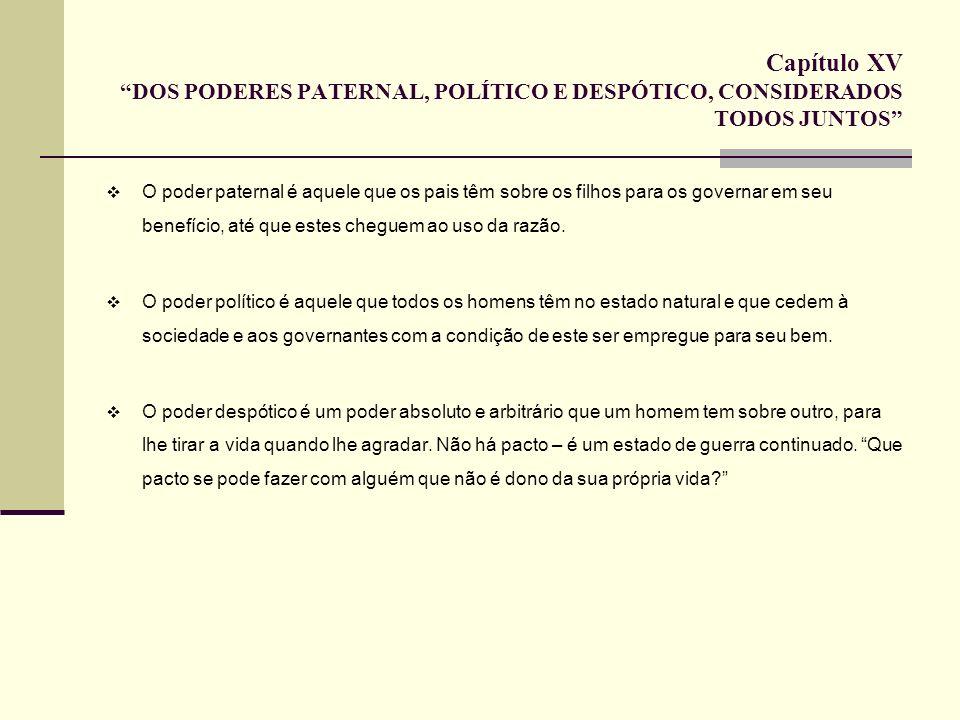 Capítulo XV DOS PODERES PATERNAL, POLÍTICO E DESPÓTICO, CONSIDERADOS TODOS JUNTOS