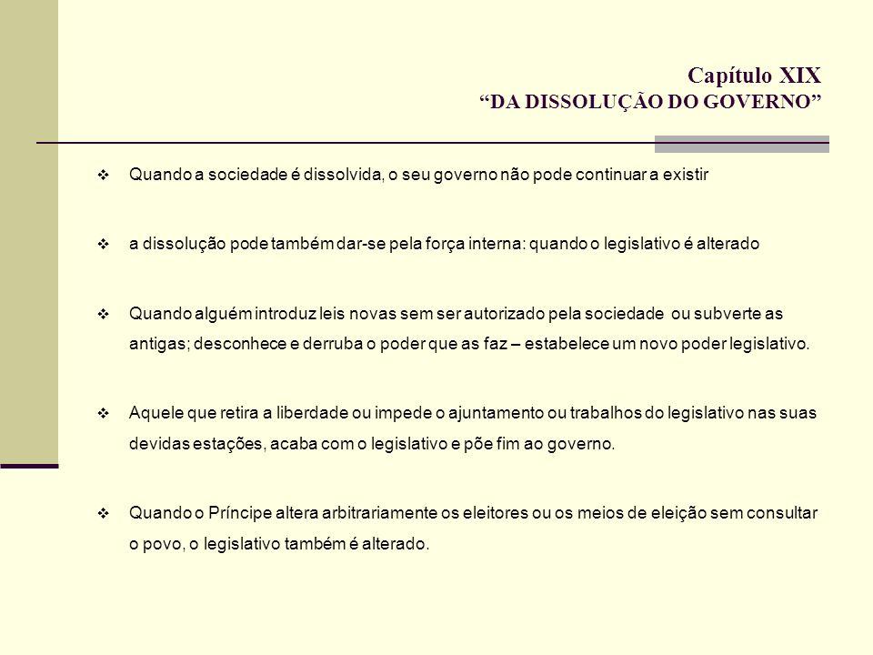 Capítulo XIX DA DISSOLUÇÃO DO GOVERNO