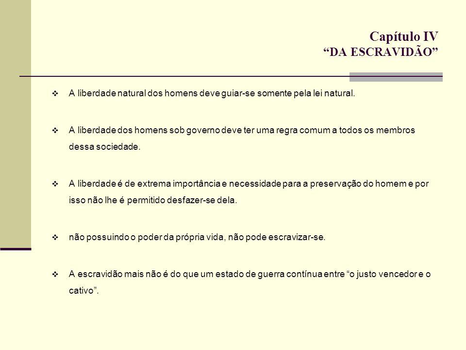 Capítulo IV DA ESCRAVIDÃO