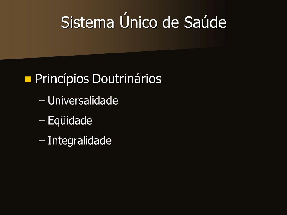 Sistema Único de Saúde Princípios Doutrinários Universalidade Eqüidade
