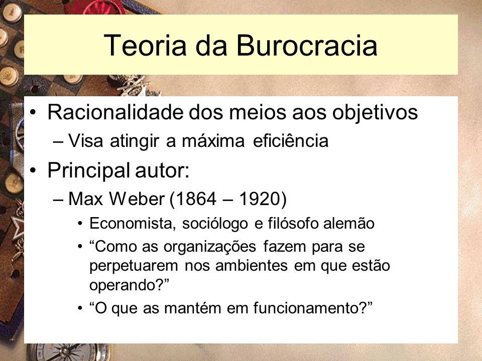 Teoria da Burocracia Racionalidade dos meios aos objetivos
