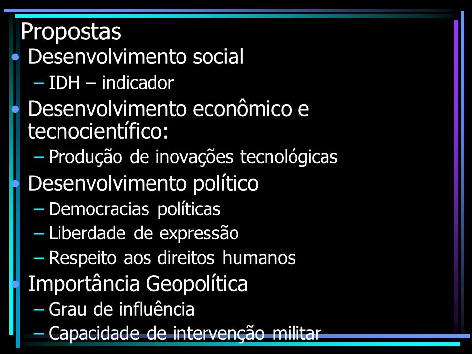 Propostas Desenvolvimento social