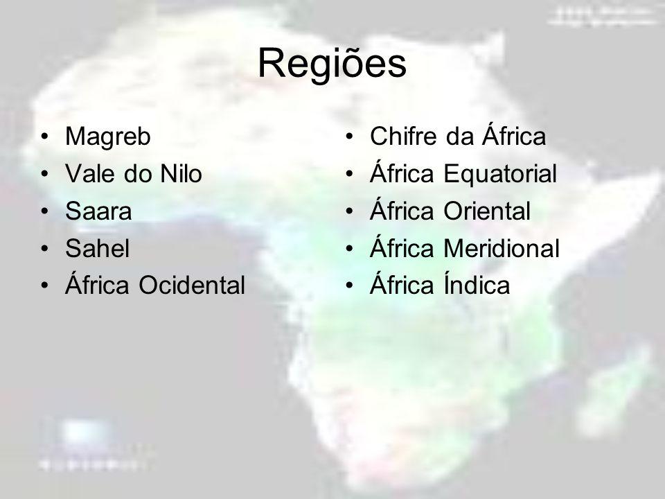 Regiões Magreb Vale do Nilo Saara Sahel África Ocidental