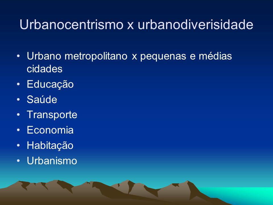 Urbanocentrismo x urbanodiverisidade
