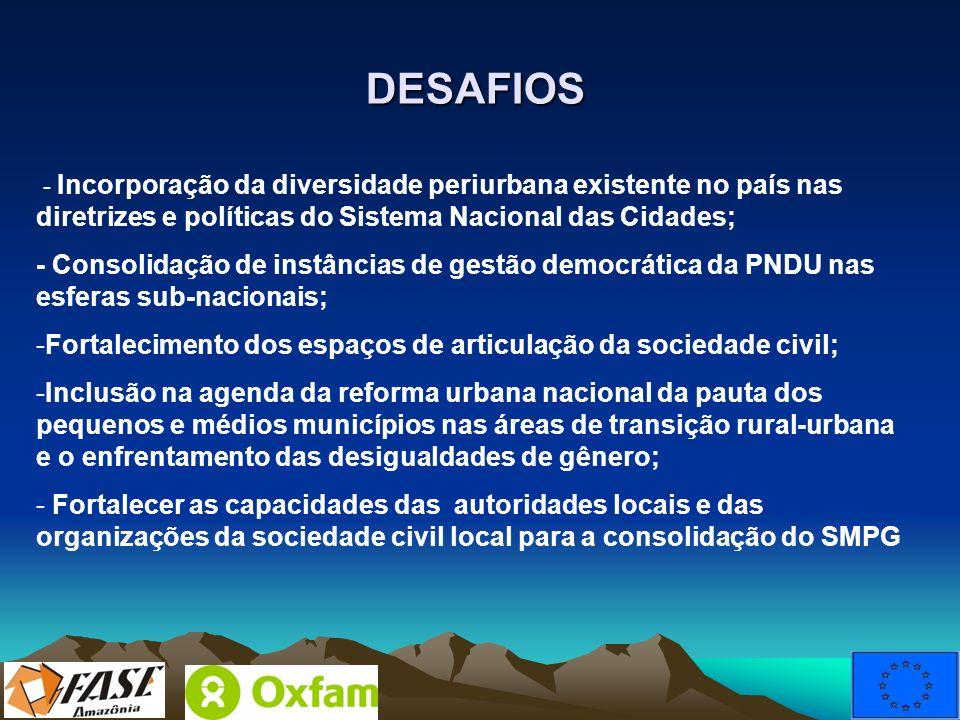 DESAFIOS - Incorporação da diversidade periurbana existente no país nas diretrizes e políticas do Sistema Nacional das Cidades;
