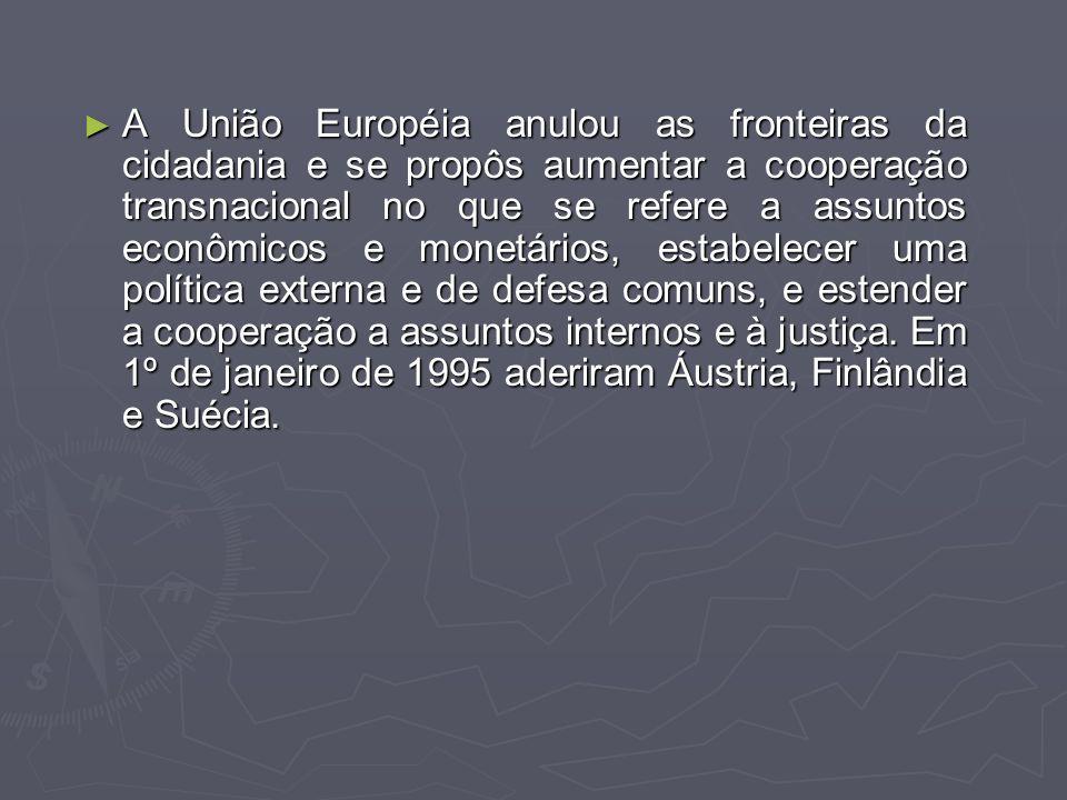 A União Européia anulou as fronteiras da cidadania e se propôs aumentar a cooperação transnacional no que se refere a assuntos econômicos e monetários, estabelecer uma política externa e de defesa comuns, e estender a cooperação a assuntos internos e à justiça.
