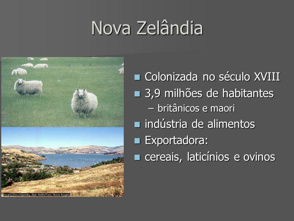 Nova Zelândia Colonizada no século XVIII 3,9 milhões de habitantes