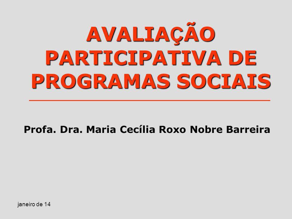 AVALIAÇÃO PARTICIPATIVA DE PROGRAMAS SOCIAIS