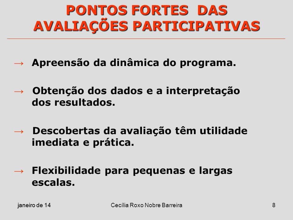 PONTOS FORTES DAS AVALIAÇÕES PARTICIPATIVAS