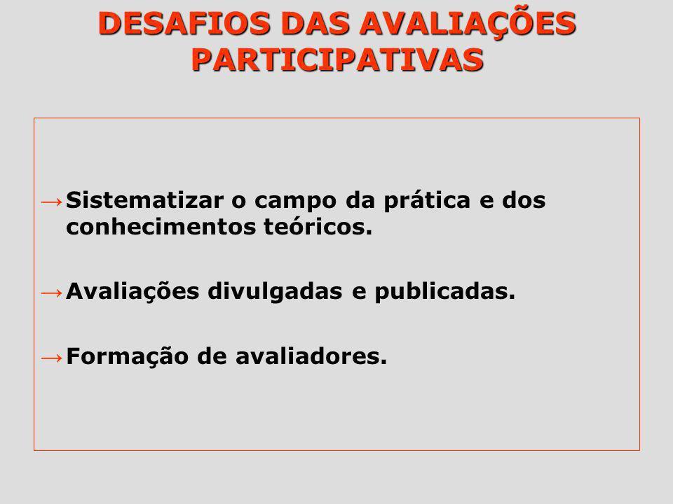 DESAFIOS DAS AVALIAÇÕES PARTICIPATIVAS
