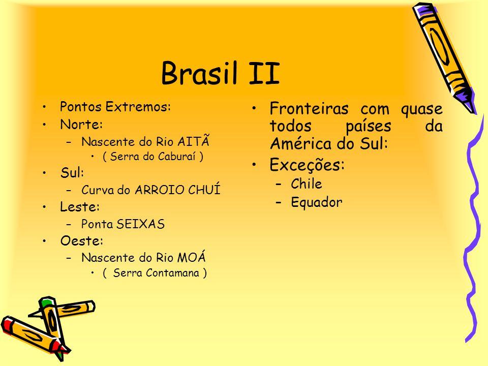Brasil II Fronteiras com quase todos países da América do Sul: