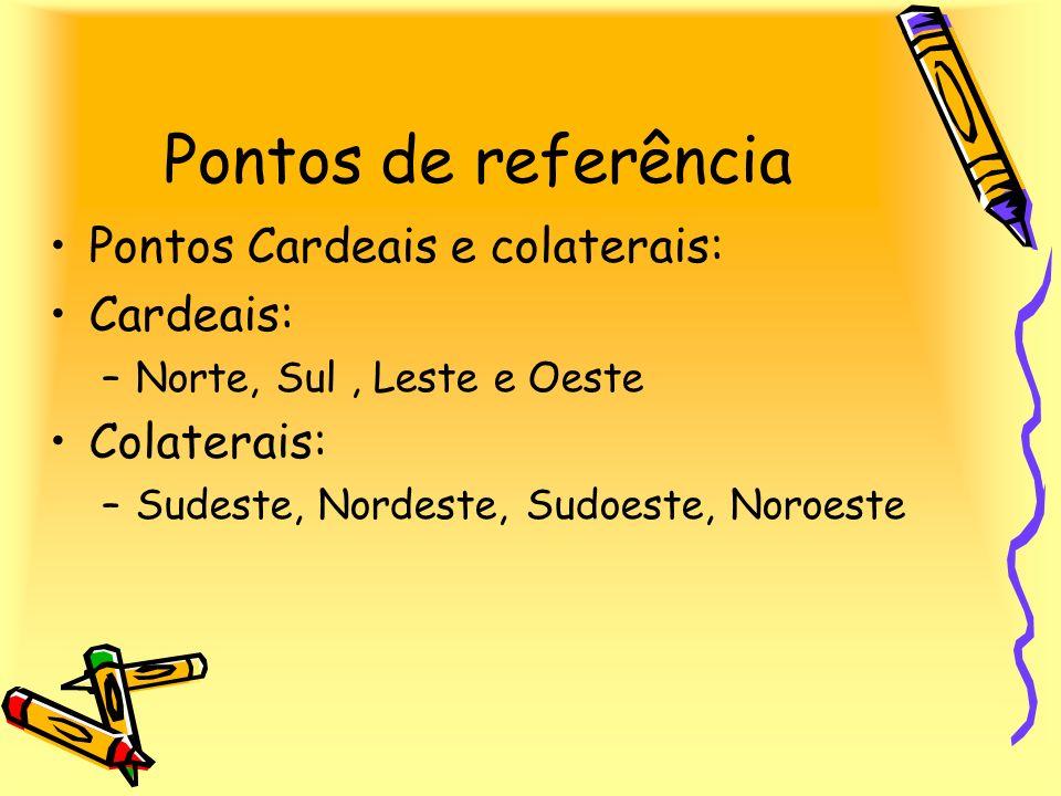 Pontos de referência Pontos Cardeais e colaterais: Cardeais: