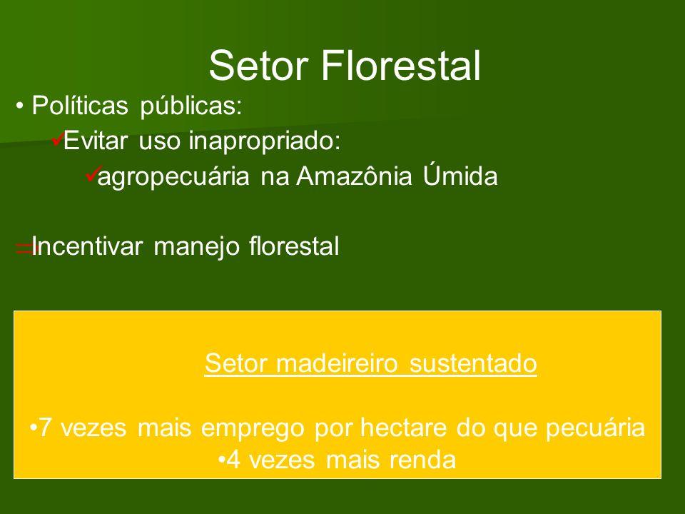 Setor Florestal Políticas públicas: Evitar uso inapropriado: