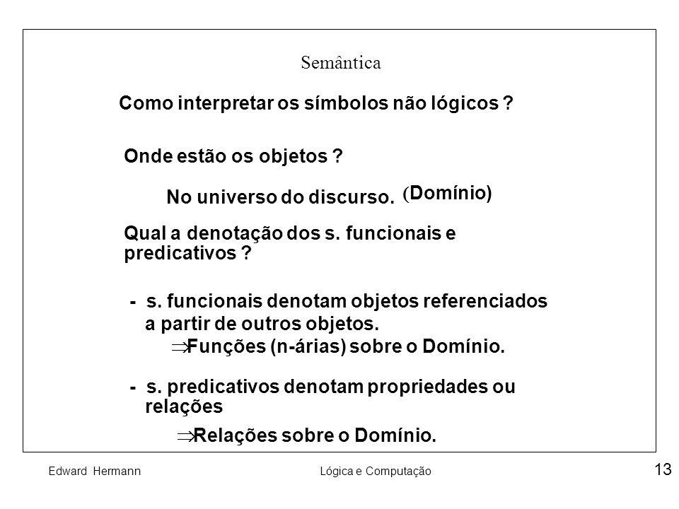 Semântica Como interpretar os símbolos não lógicos Onde estão os objetos (Domínio) No universo do discurso.