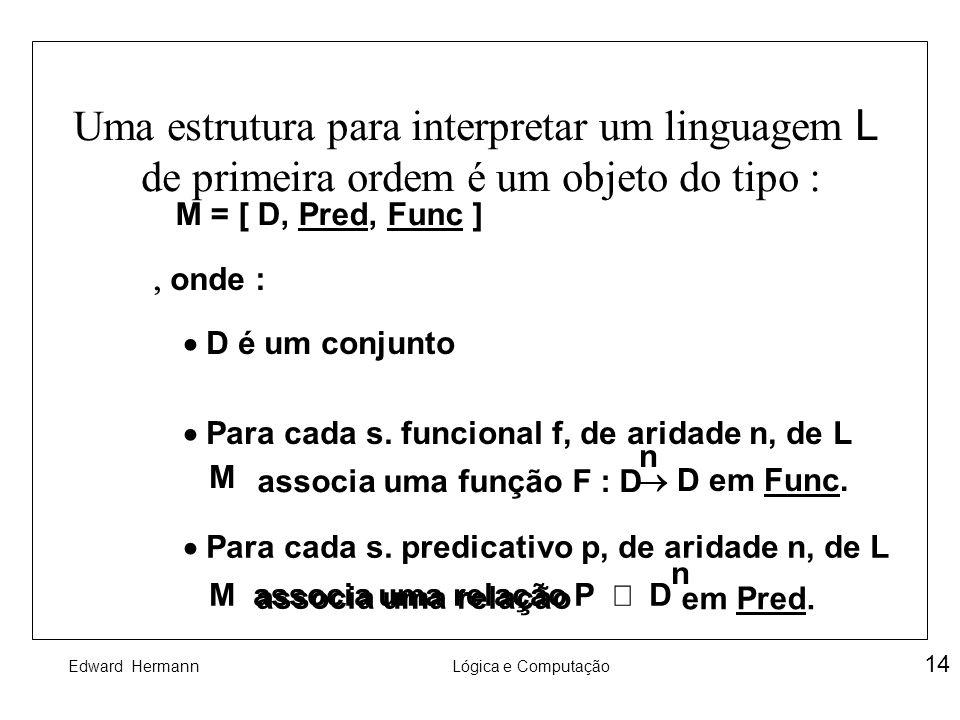 Uma estrutura para interpretar um linguagem L de primeira ordem é um objeto do tipo :