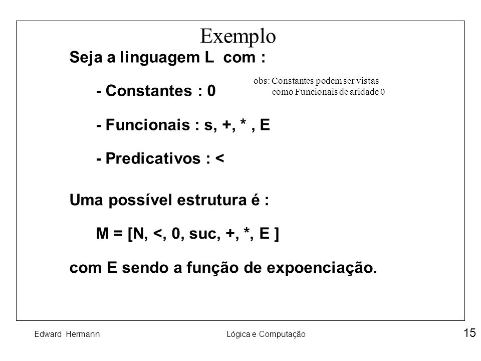 Exemplo Seja a linguagem L com : - Constantes : 0