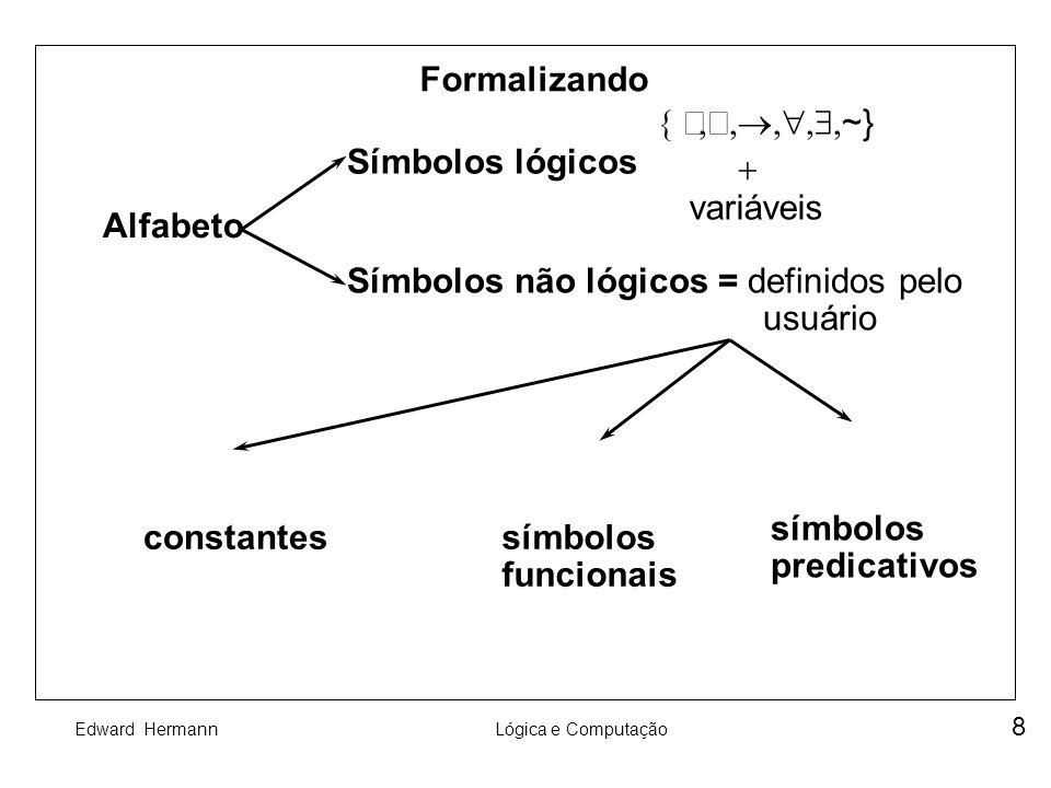 Formalizando { Ù,Ú,®, ,$,~} Símbolos lógicos. + variáveis. Alfabeto. Símbolos não lógicos = definidos pelo.