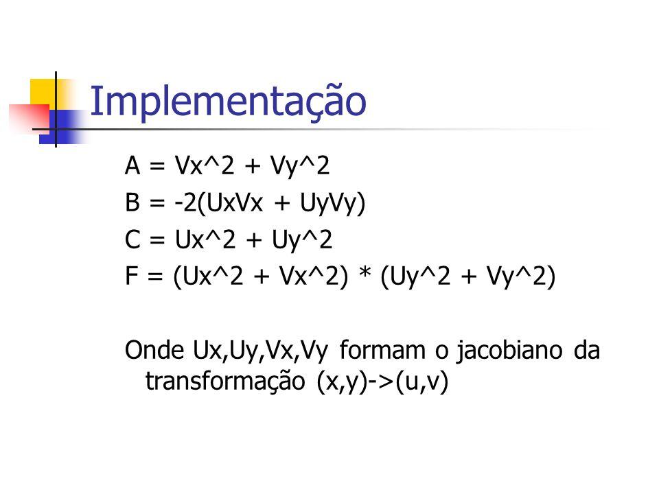 Implementação A = Vx^2 + Vy^2 B = -2(UxVx + UyVy) C = Ux^2 + Uy^2