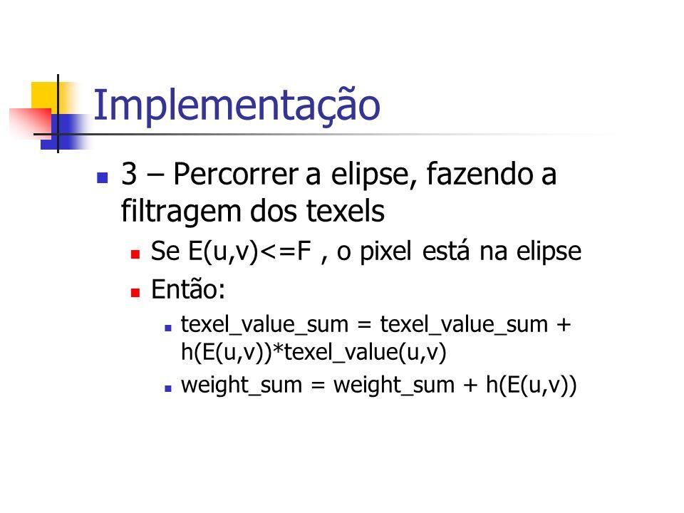 Implementação 3 – Percorrer a elipse, fazendo a filtragem dos texels