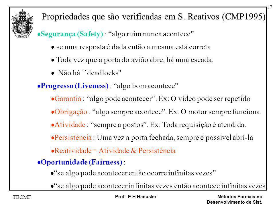 Propriedades que são verificadas em S. Reativos (CMP1995)