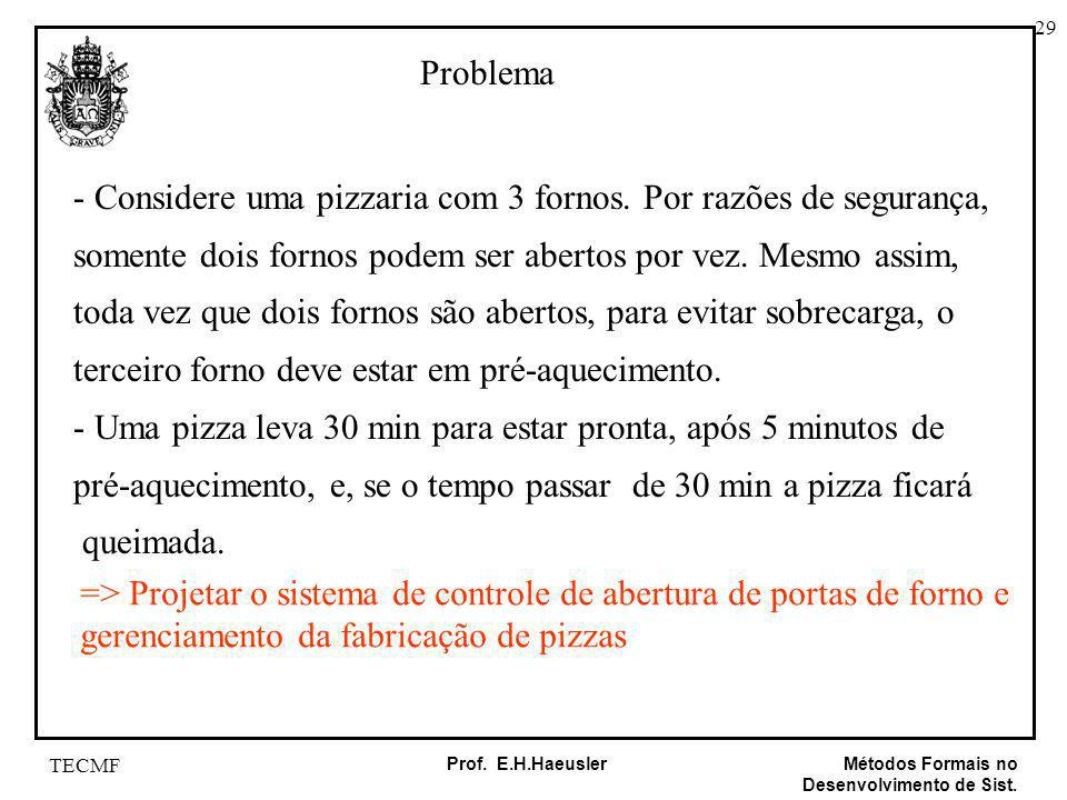 - Considere uma pizzaria com 3 fornos. Por razões de segurança,
