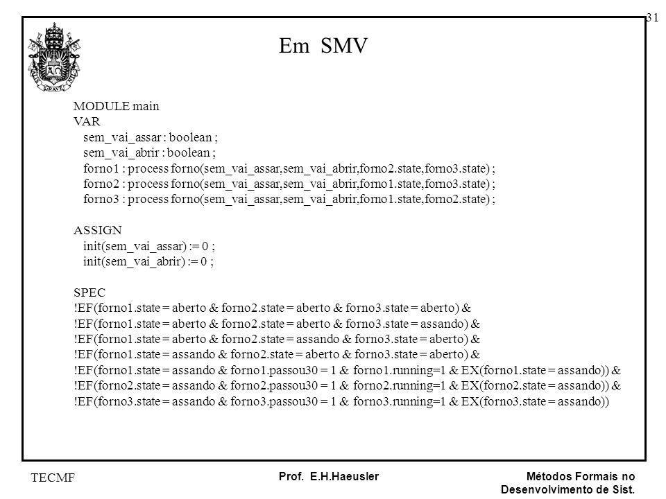 Em SMV MODULE main VAR sem_vai_assar : boolean ;