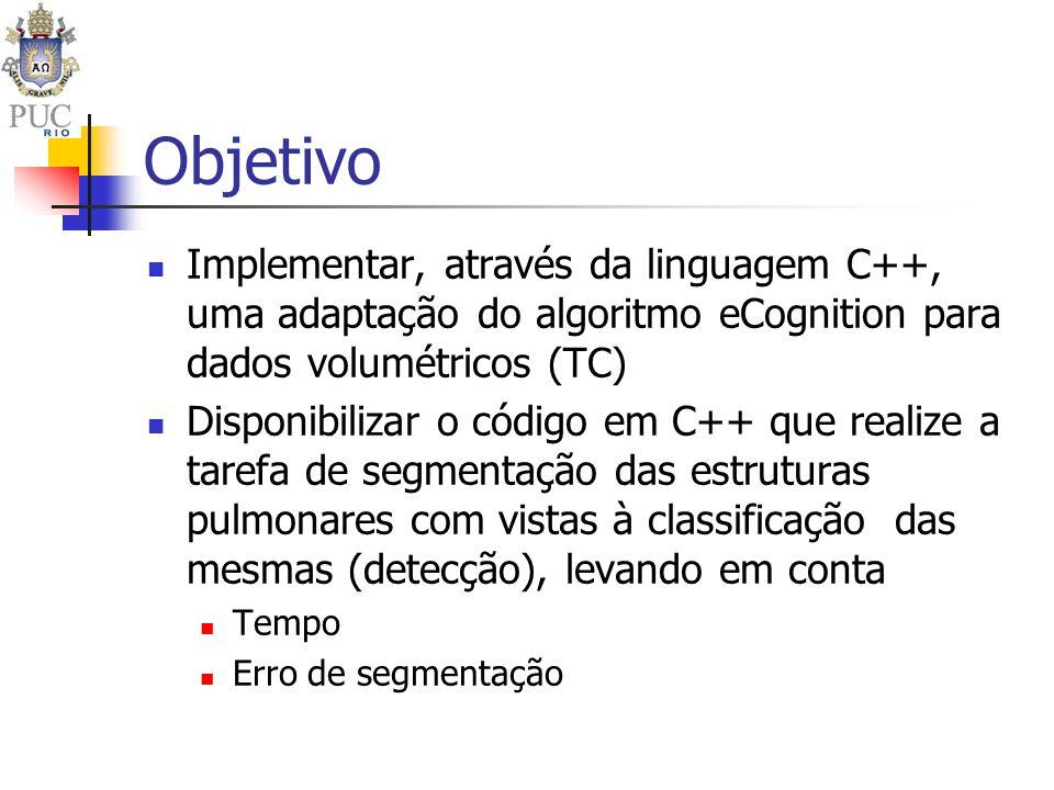 Objetivo Implementar, através da linguagem C++, uma adaptação do algoritmo eCognition para dados volumétricos (TC)
