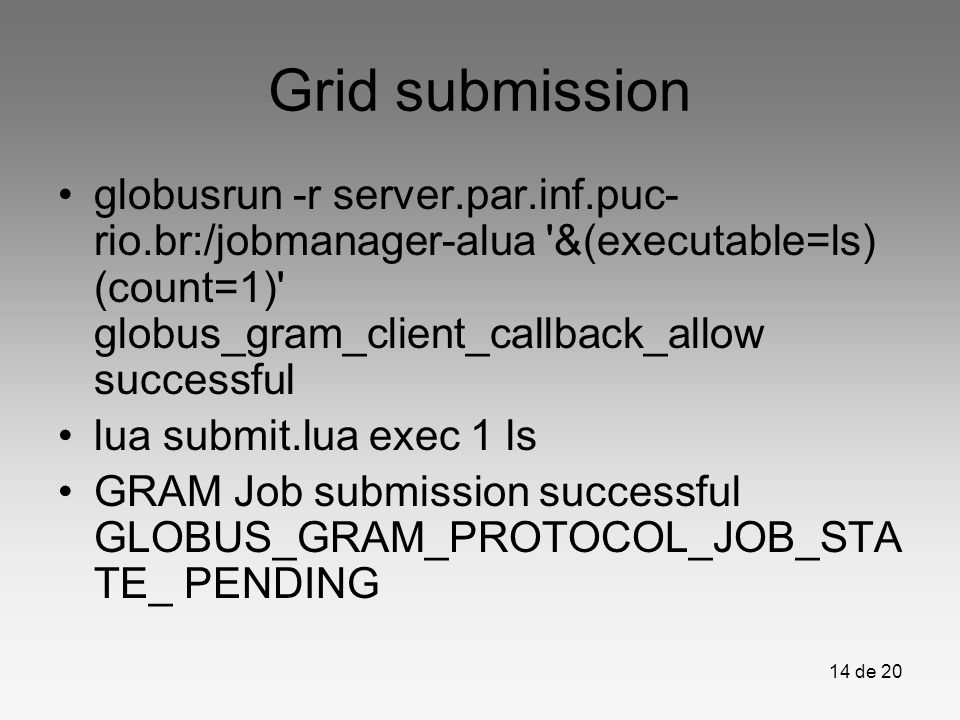 Grid submission globusrun -r server.par.inf.puc-rio.br:/jobmanager-alua &(executable=ls) (count=1) globus_gram_client_callback_allow successful.