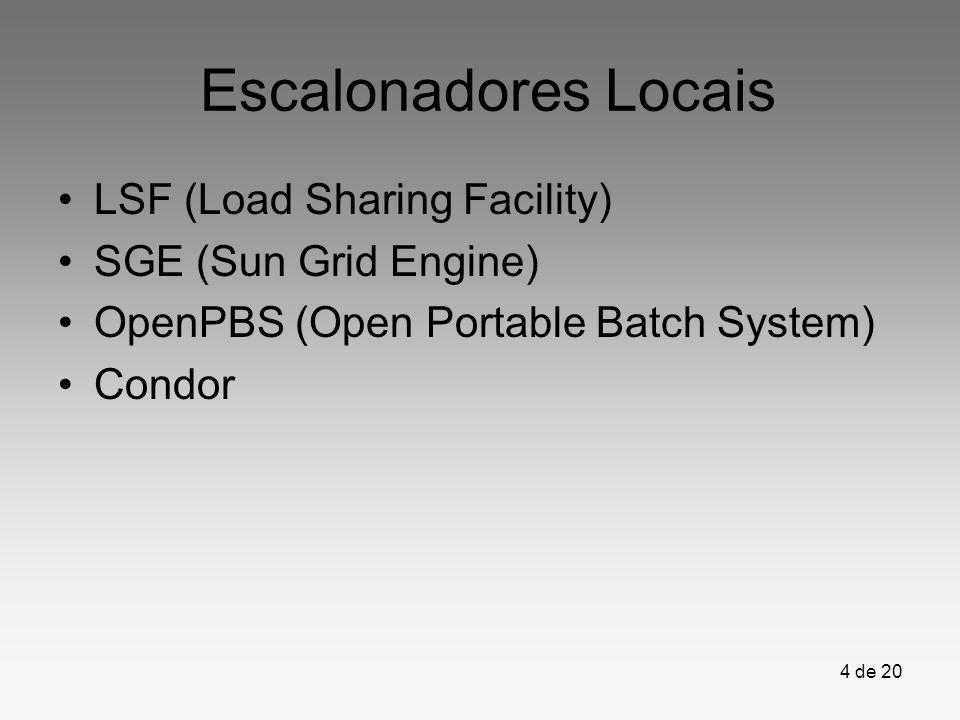 Escalonadores Locais LSF (Load Sharing Facility) SGE (Sun Grid Engine)