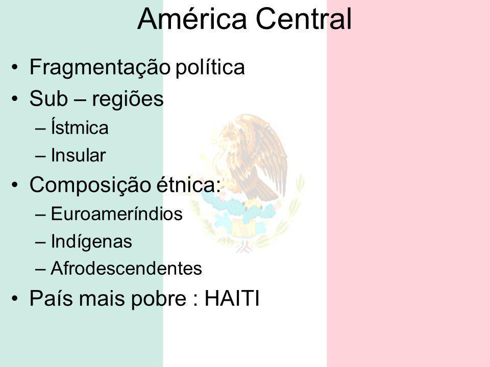 América Central Fragmentação política Sub – regiões Composição étnica: