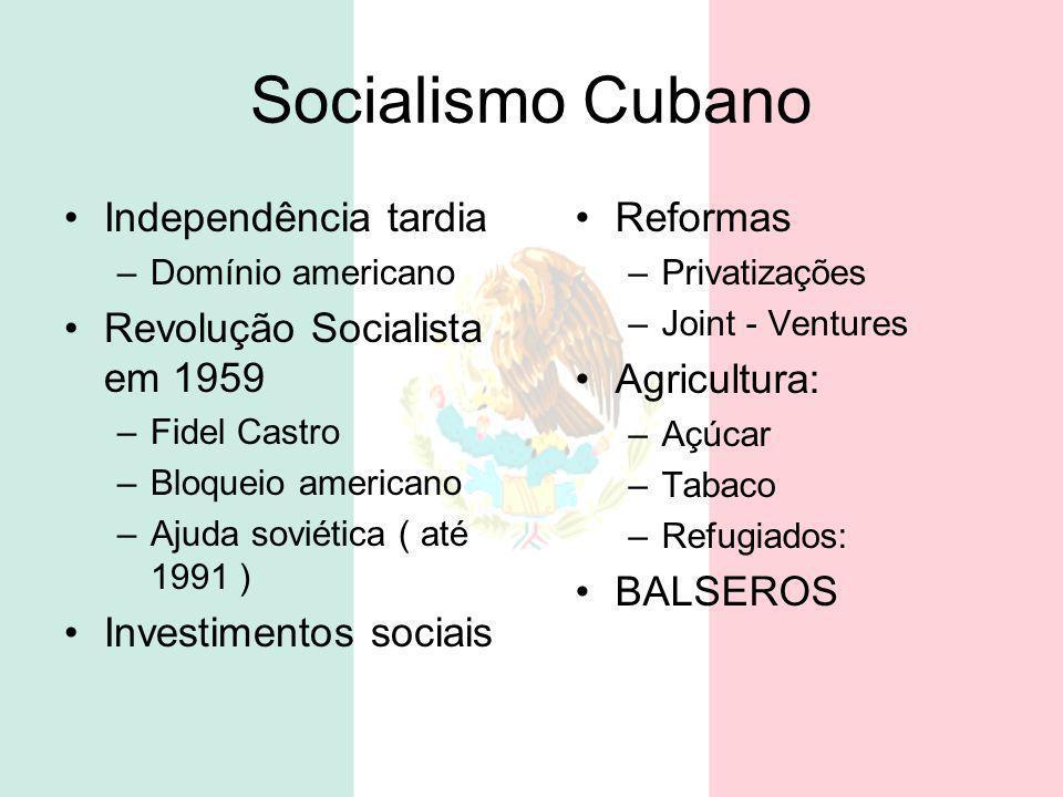 Socialismo Cubano Independência tardia Revolução Socialista em 1959