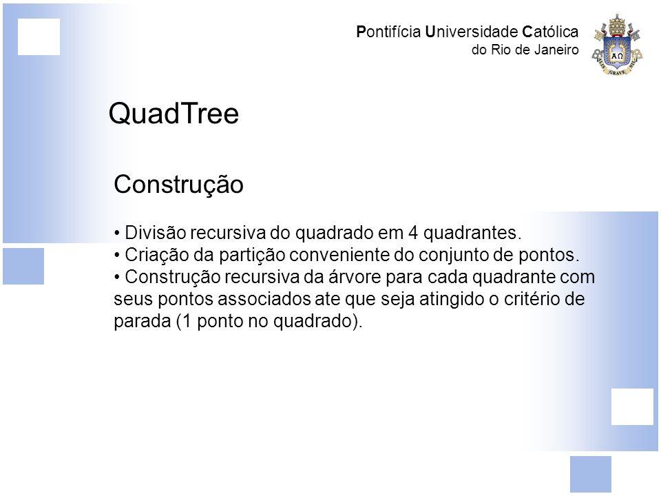 QuadTree Construção Divisão recursiva do quadrado em 4 quadrantes.