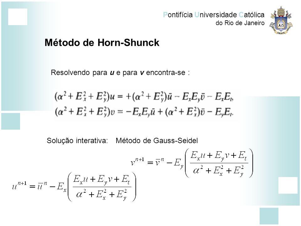 Método de Horn-Shunck Resolvendo para u e para v encontra-se :