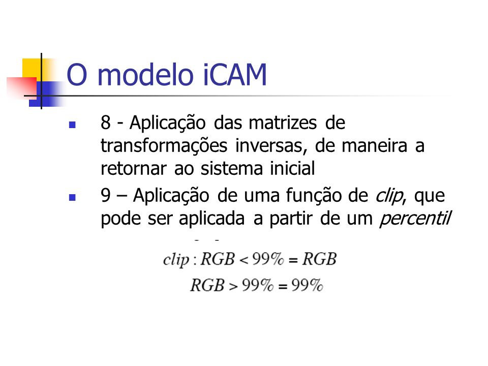O modelo iCAM 8 - Aplicação das matrizes de transformações inversas, de maneira a retornar ao sistema inicial.
