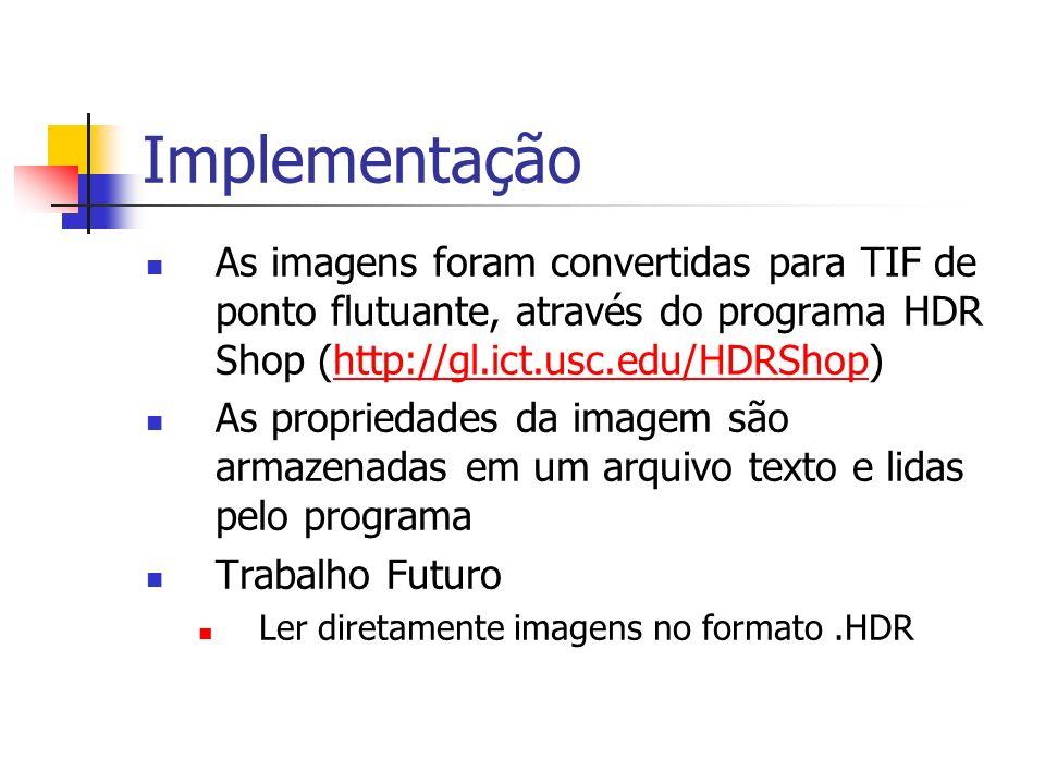 Implementação As imagens foram convertidas para TIF de ponto flutuante, através do programa HDR Shop (http://gl.ict.usc.edu/HDRShop)