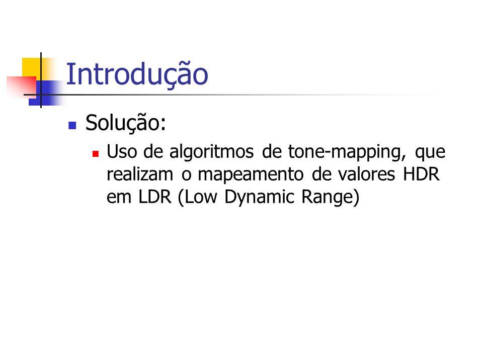 Introdução Solução: Uso de algoritmos de tone-mapping, que realizam o mapeamento de valores HDR em LDR (Low Dynamic Range)