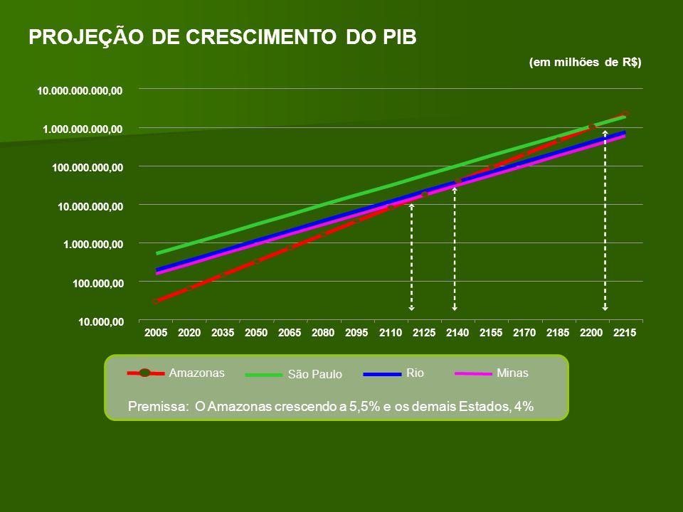 PROJEÇÃO DE CRESCIMENTO DO PIB