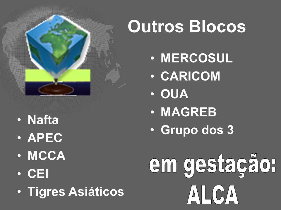 Outros Blocos em gestação: ALCA MERCOSUL CARICOM OUA MAGREB