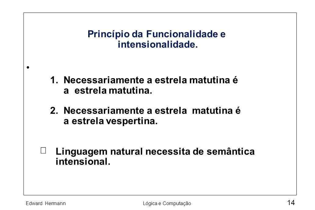 Princípio da Funcionalidade e intensionalidade.