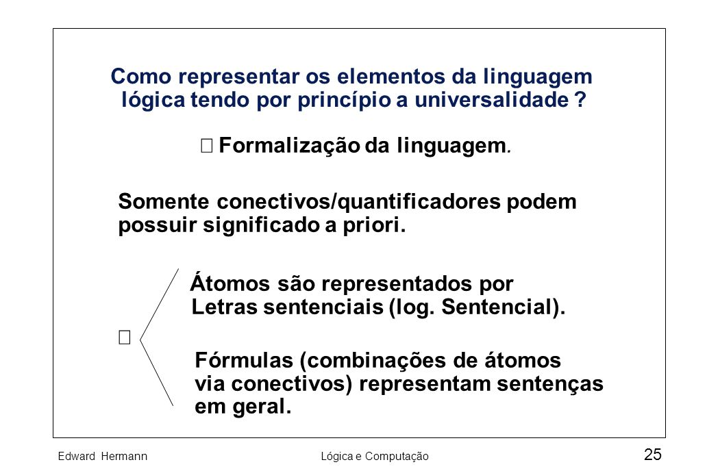 Þ Formalização da linguagem.