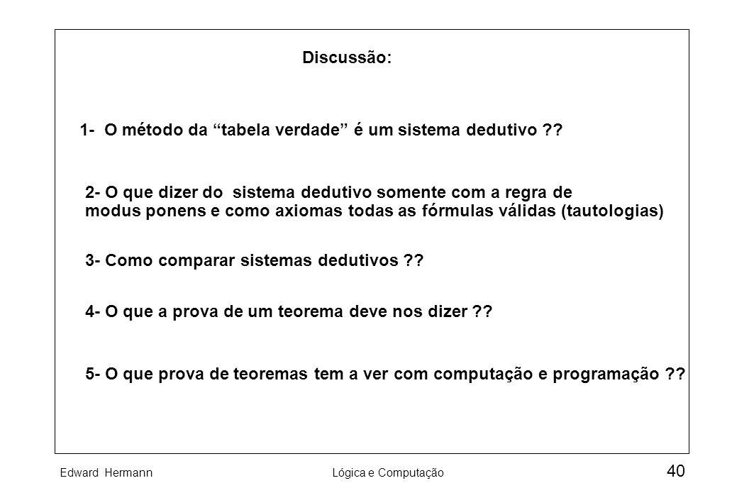 Discussão: 1- O método da tabela verdade é um sistema dedutivo 2- O que dizer do sistema dedutivo somente com a regra de.