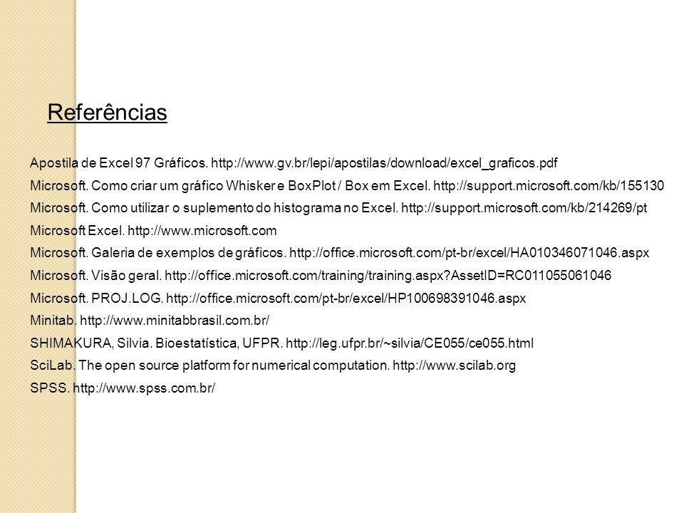 Referências Apostila de Excel 97 Gráficos. http://www.gv.br/lepi/apostilas/download/excel_graficos.pdf.