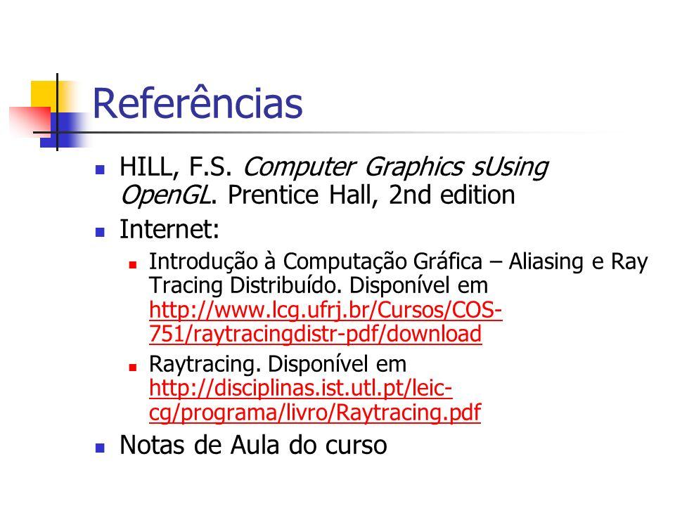 ReferênciasHILL, F.S. Computer Graphics sUsing OpenGL. Prentice Hall, 2nd edition. Internet: