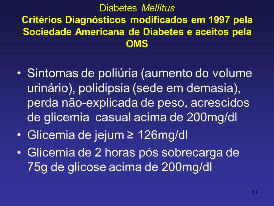 Glicemia de jejum ≥ 126mg/dl